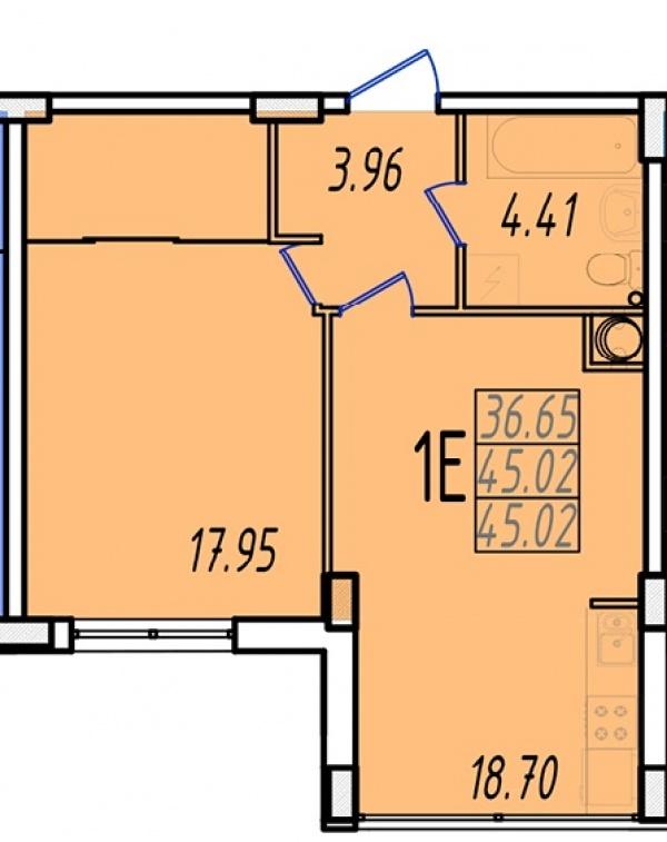 Планировки однокомнатных квартир 46.51 м^2